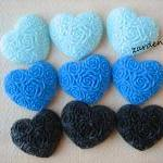 9PCS - Heart Flower Cabochons - Res..