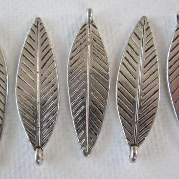 5PCS - Leaf Charms - Silver Toned - 33x10mm - Supplies by Zardenia